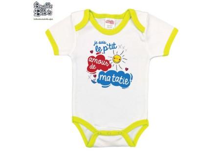 Body imprim/é en France 100/% coton bio body tata 3-6 mois Petit coeur /à sa tatie annonce naissance v/êtement b/éb/é Body b/éb/é cadeau de naissance Bleu